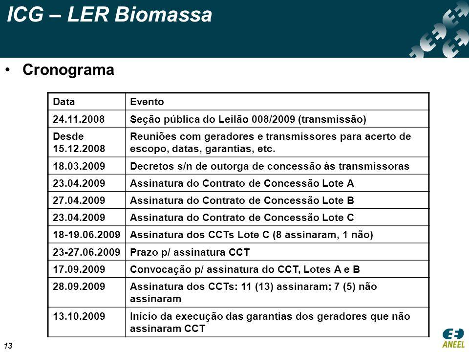 13 ICG – LER Biomassa Cronograma DataEvento 24.11.2008Seção pública do Leilão 008/2009 (transmissão) Desde 15.12.2008 Reuniões com geradores e transmi