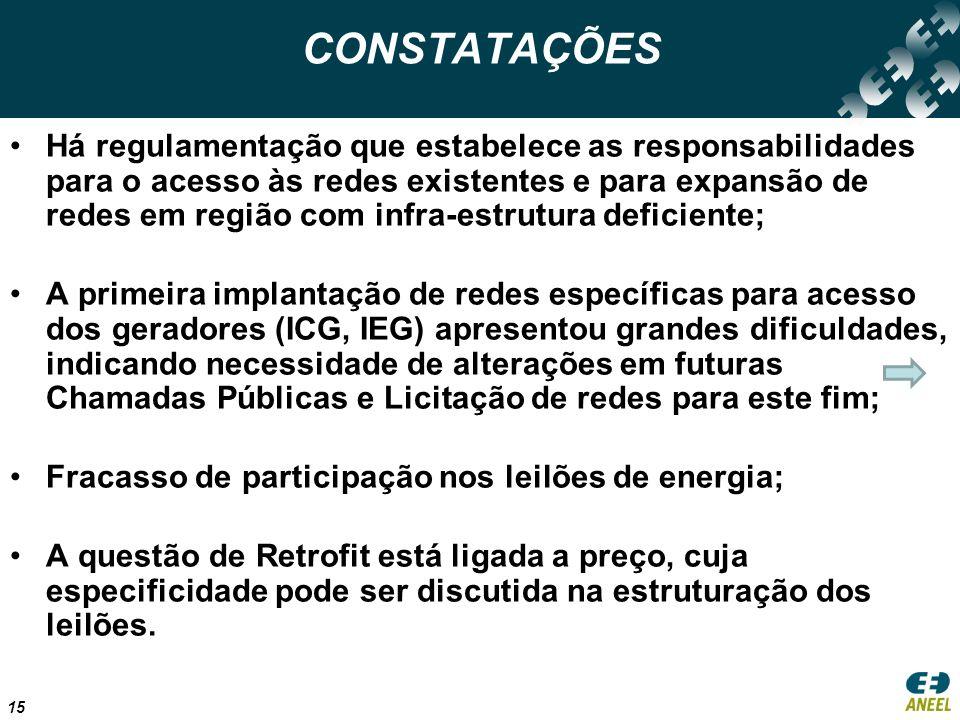 15 CONSTATAÇÕES Há regulamentação que estabelece as responsabilidades para o acesso às redes existentes e para expansão de redes em região com infra-estrutura deficiente; A primeira implantação de redes específicas para acesso dos geradores (ICG, IEG) apresentou grandes dificuldades, indicando necessidade de alterações em futuras Chamadas Públicas e Licitação de redes para este fim; Fracasso de participação nos leilões de energia; A questão de Retrofit está ligada a preço, cuja especificidade pode ser discutida na estruturação dos leilões.