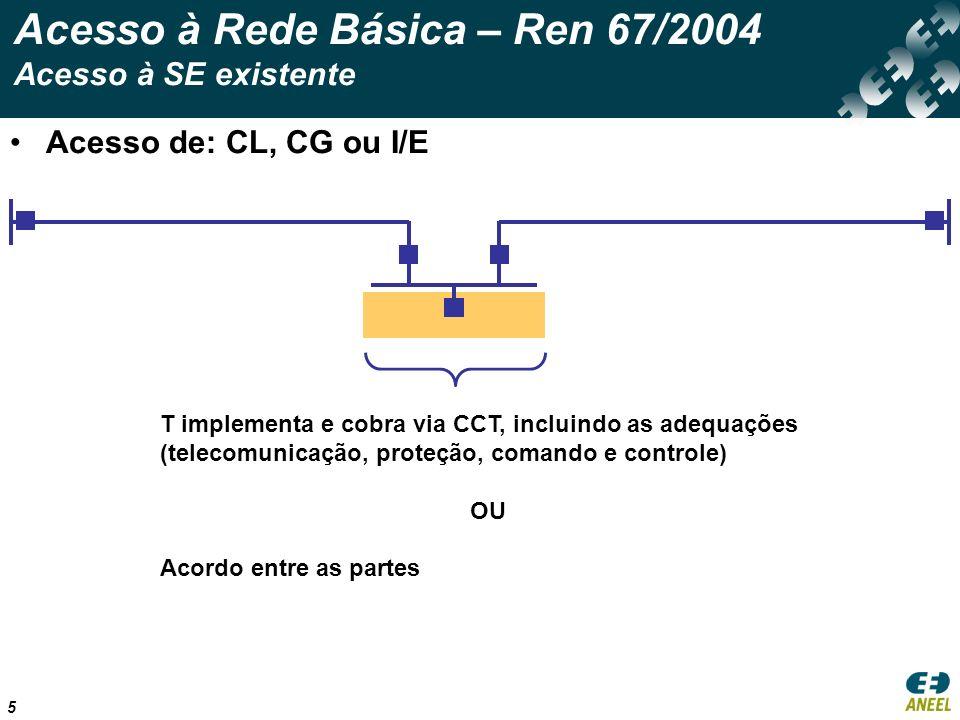 5 Acesso à Rede Básica – Ren 67/2004 Acesso à SE existente Acesso de: CL, CG ou I/E T implementa e cobra via CCT, incluindo as adequações (telecomunicação, proteção, comando e controle) OU Acordo entre as partes