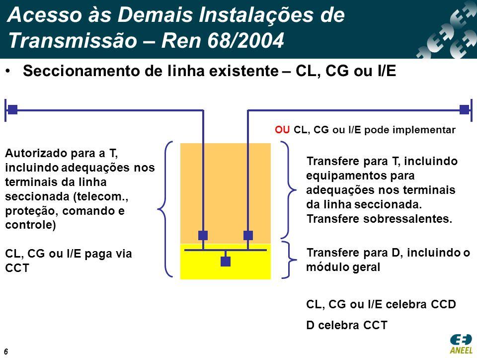 7 Acesso às Demais Instalações de Transmissão – Ren 68/2004 Conexão em barramento existente – D, CL, CG ou I/E T implementa e cobra via CCT, incluindo as adequações (telecomunicação, proteção, comando e controle) OU Acordo entre as partes
