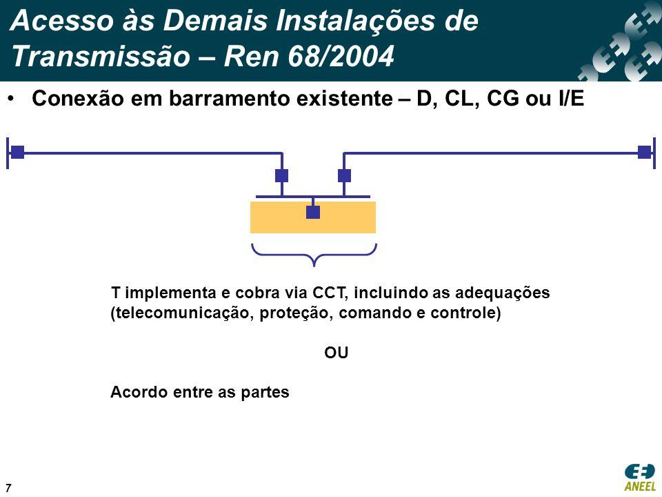 7 Acesso às Demais Instalações de Transmissão – Ren 68/2004 Conexão em barramento existente – D, CL, CG ou I/E T implementa e cobra via CCT, incluindo