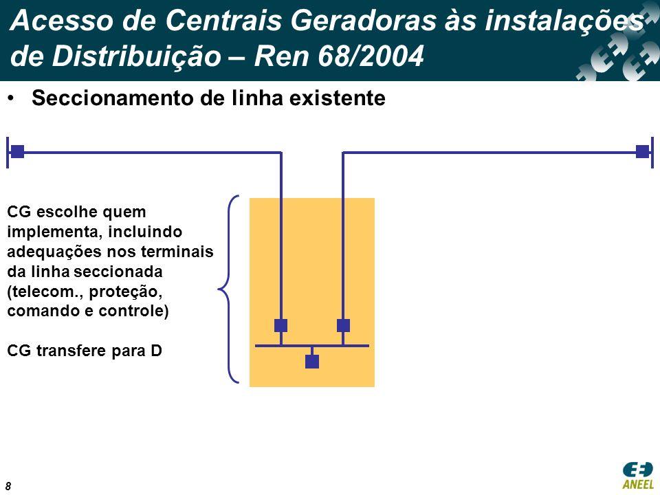 9 Acesso de Centrais Geradoras às instalações de Distribuição – Ren 68/2004 Conexão em barramento existente CG escolhe quem implementa, incluindo adequações (telecomunicação, proteção, comando e controle) CG transfere para D