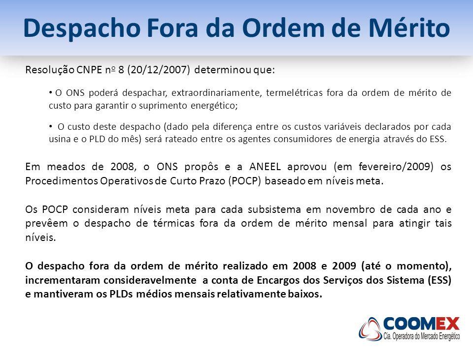 Despacho Fora da Ordem de Mérito Resolução CNPE n o 8 (20/12/2007) determinou que: O ONS poderá despachar, extraordinariamente, termelétricas fora da
