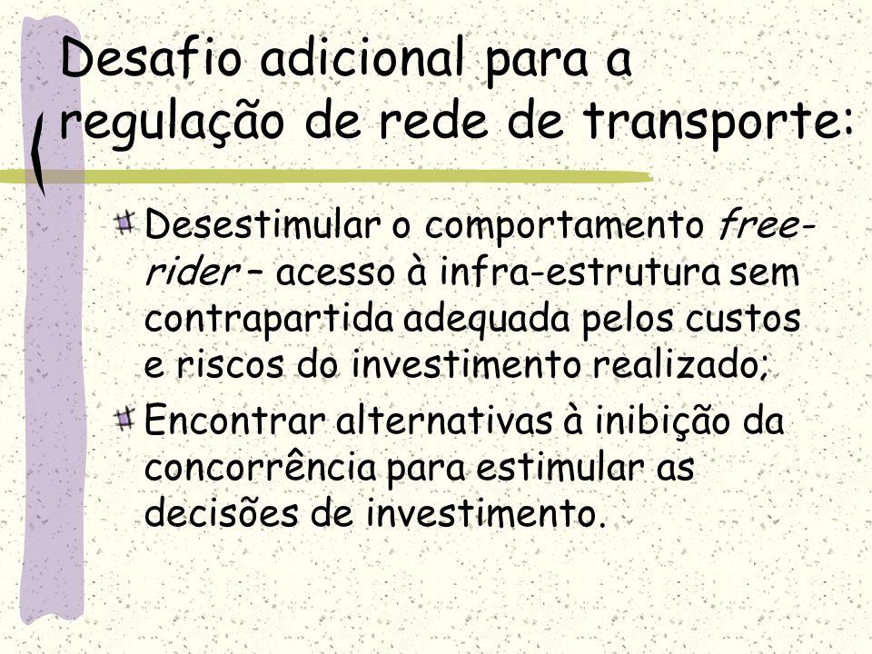 Desafio adicional para a regulação de rede de transporte: Desestimular o comportamento free- rider – acesso à infra-estrutura sem contrapartida adequa