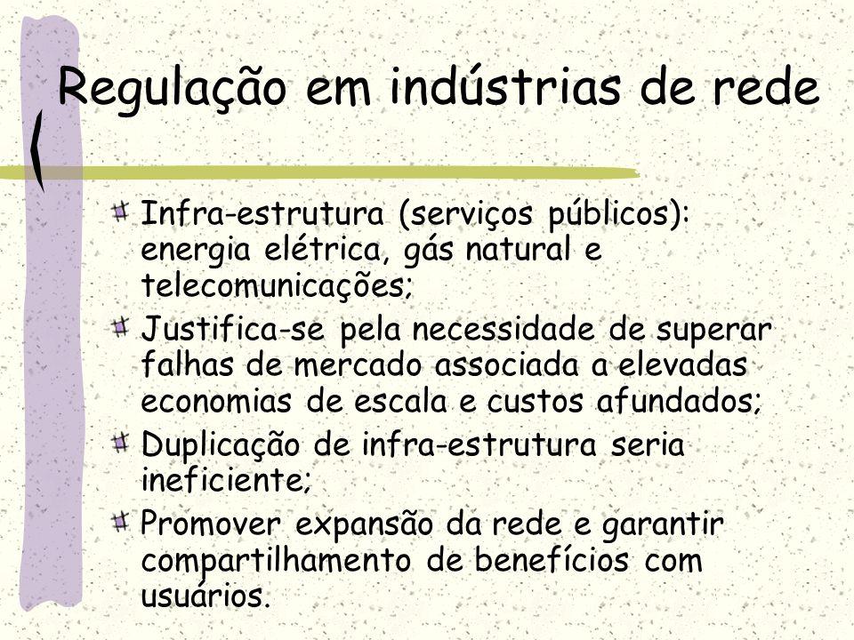 Regulação em indústrias de rede Infra-estrutura (serviços públicos): energia elétrica, gás natural e telecomunicações; Justifica-se pela necessidade d