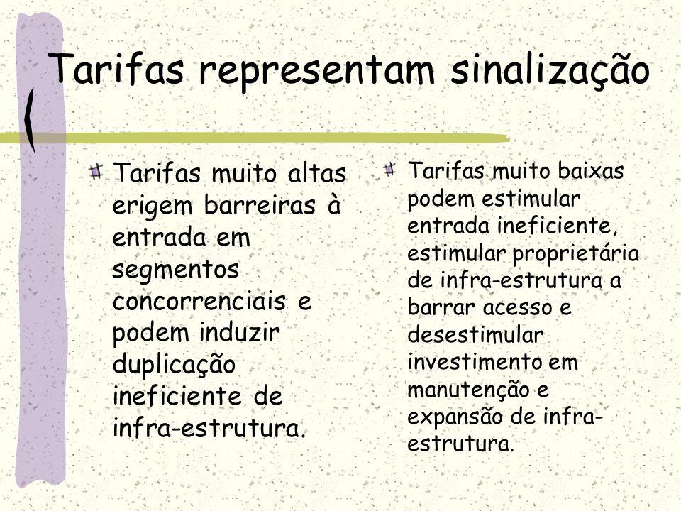 Tarifas representam sinalização Tarifas muito altas erigem barreiras à entrada em segmentos concorrenciais e podem induzir duplicação ineficiente de i