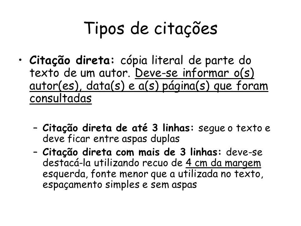 Tipos de citações Citação direta: cópia literal de parte do texto de um autor. Deve-se informar o(s) autor(es), data(s) e a(s) página(s) que foram con