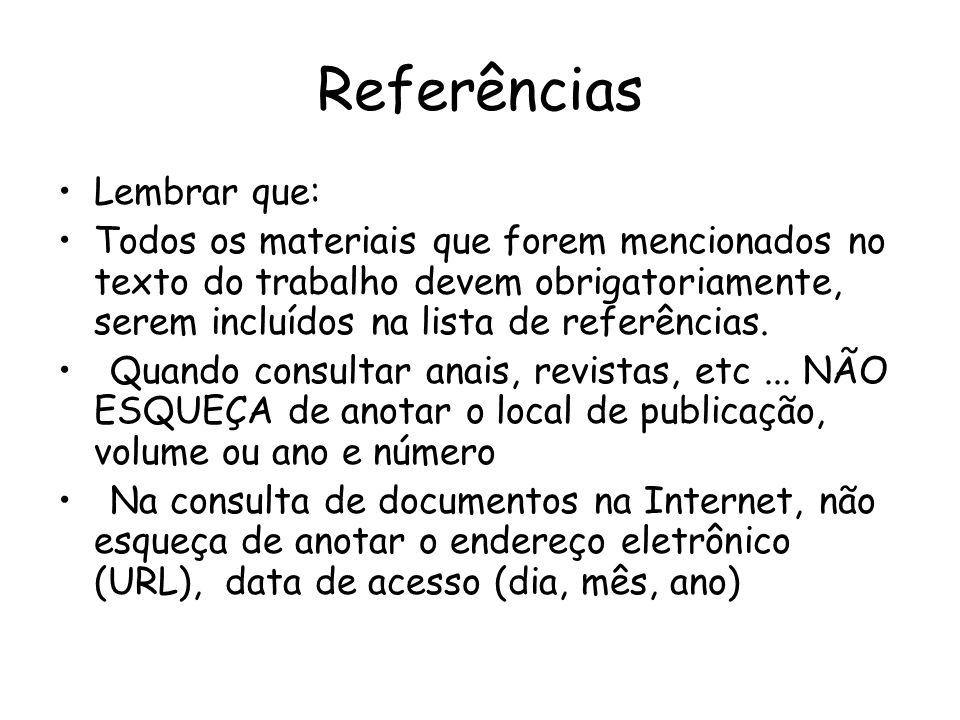 Referências Lembrar que: Todos os materiais que forem mencionados no texto do trabalho devem obrigatoriamente, serem incluídos na lista de referências