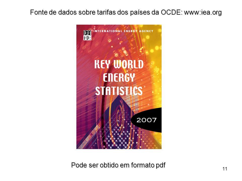 11 Fonte de dados sobre tarifas dos países da OCDE: www:iea.org Pode ser obtido em formato pdf