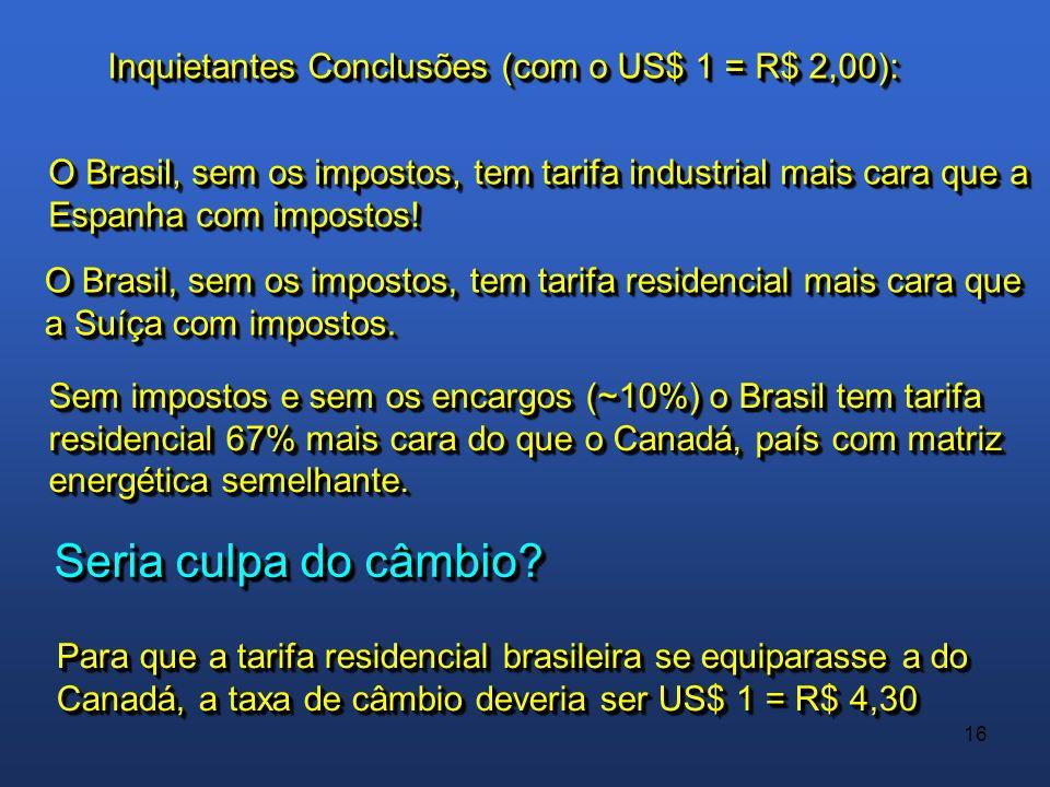 16 Inquietantes Conclusões (com o US$ 1 = R$ 2,00): O Brasil, sem os impostos, tem tarifa industrial mais cara que a Espanha com impostos! O Brasil, s