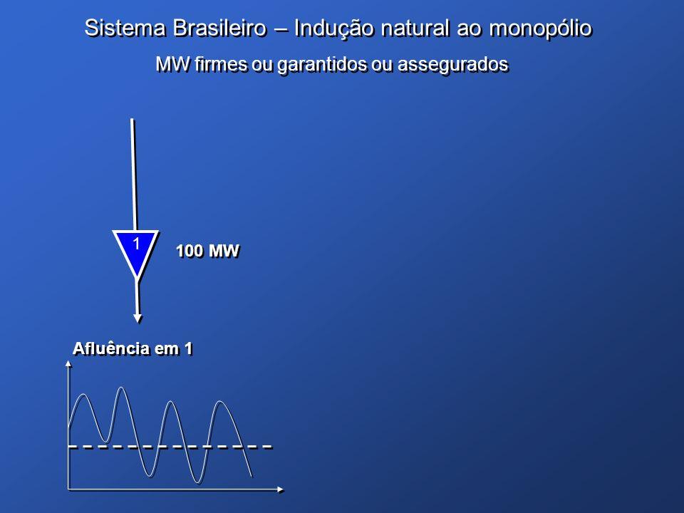 Sistema Brasileiro – Indução natural ao monopólio 1 1 100 MW Afluência em 1 MW firmes ou garantidos ou assegurados