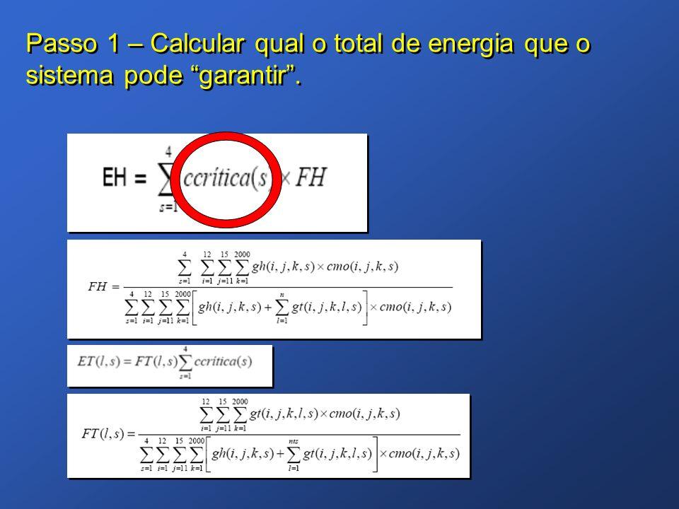 Passo 1 – Calcular qual o total de energia que o sistema pode garantir.