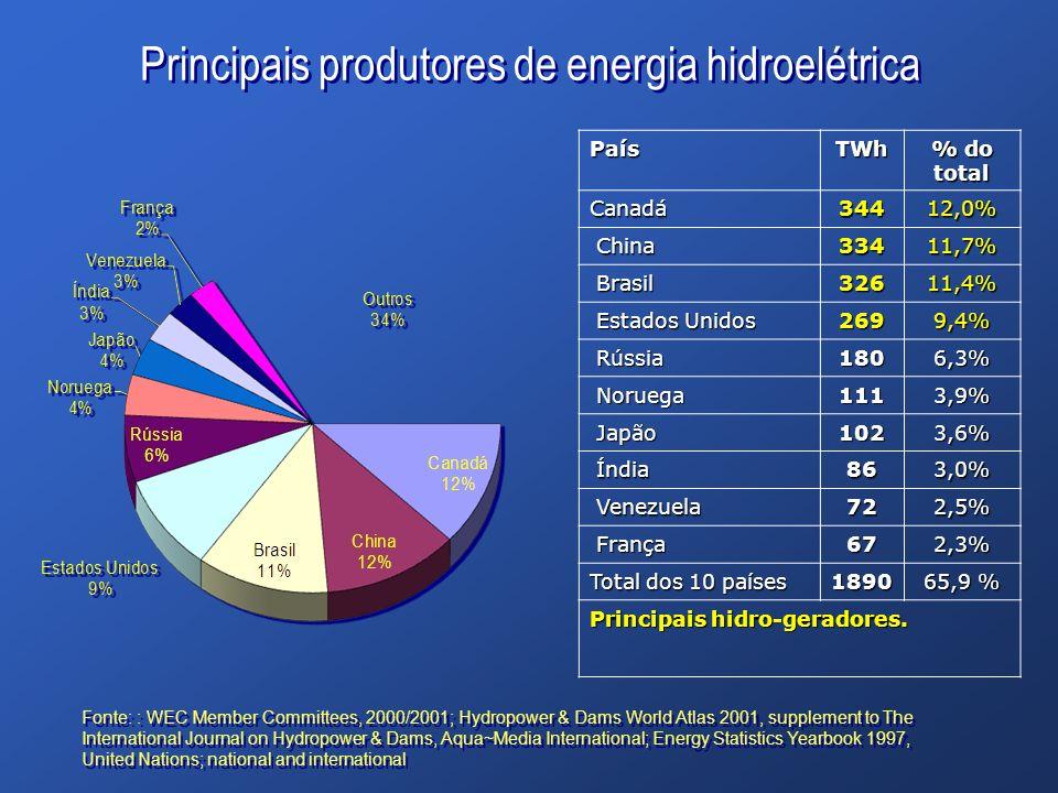 Principais produtores de energia hidroelétrica PaísTWh % do total Canadá34412,0% China China33411,7% Brasil Brasil32611,4% Estados Unidos Estados Unid