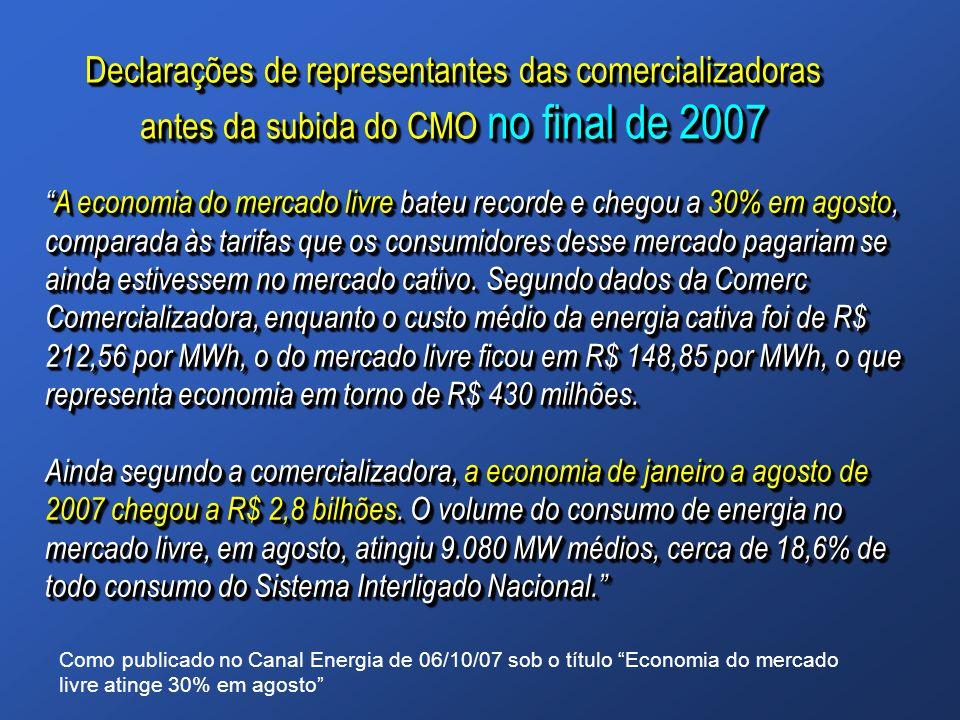 Declarações de representantes das comercializadoras antes da subida do CMO no final de 2007 A economia do mercado livre bateu recorde e chegou a 30% e