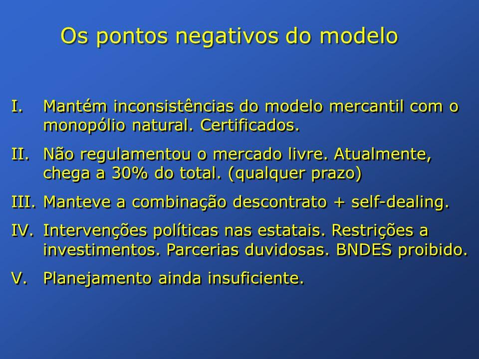 Os pontos negativos do modelo I.Mantém inconsistências do modelo mercantil com o monopólio natural. Certificados. II.Não regulamentou o mercado livre.