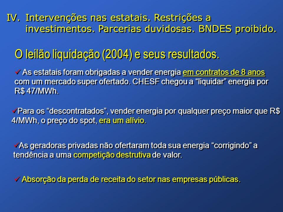 O leilão liquidação (2004) e seus resultados. Para os descontratados, vender energia por qualquer preço maior que R$ 4/MWh, o preço do spot, era um al