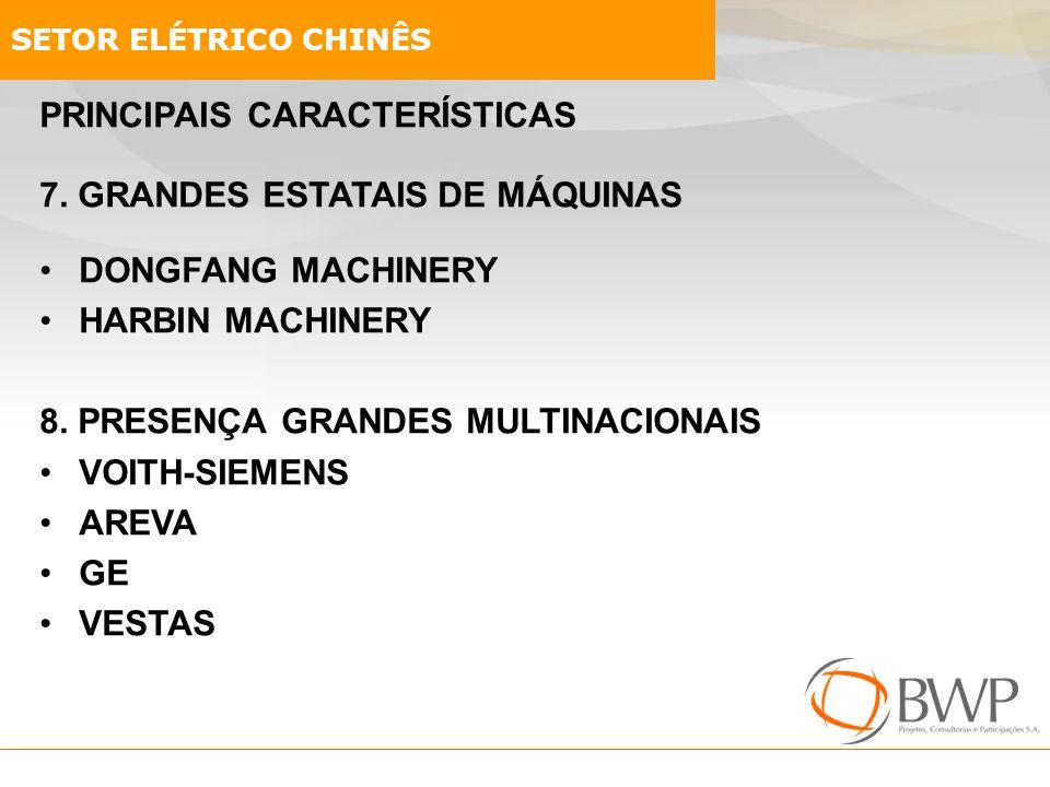 PRINCIPAIS CARACTERÍSTICAS 7. GRANDES ESTATAIS DE MÁQUINAS DONGFANG MACHINERY HARBIN MACHINERY 8. PRESENÇA GRANDES MULTINACIONAIS VOITH-SIEMENS AREVA