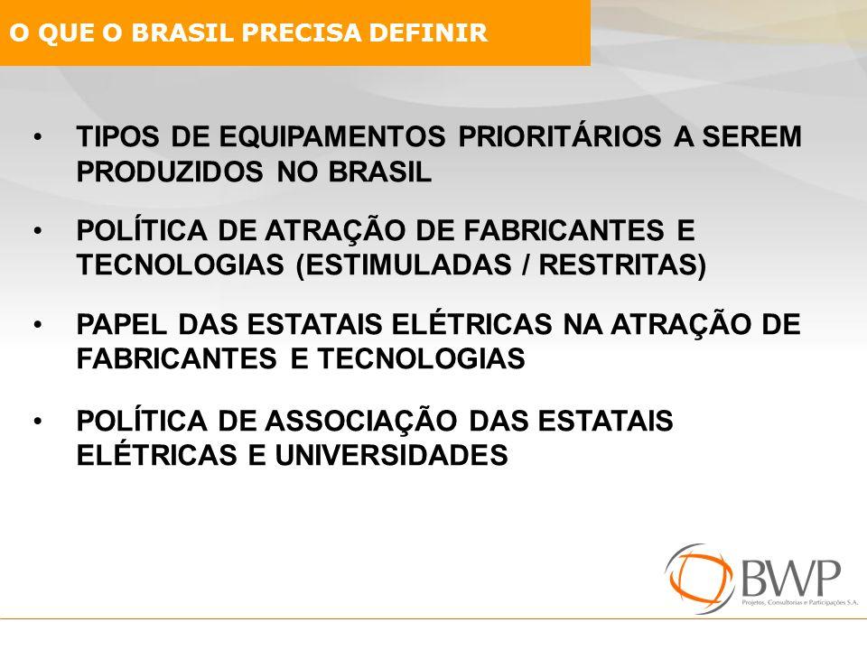 TIPOS DE EQUIPAMENTOS PRIORITÁRIOS A SEREM PRODUZIDOS NO BRASIL POLÍTICA DE ATRAÇÃO DE FABRICANTES E TECNOLOGIAS (ESTIMULADAS / RESTRITAS) PAPEL DAS E