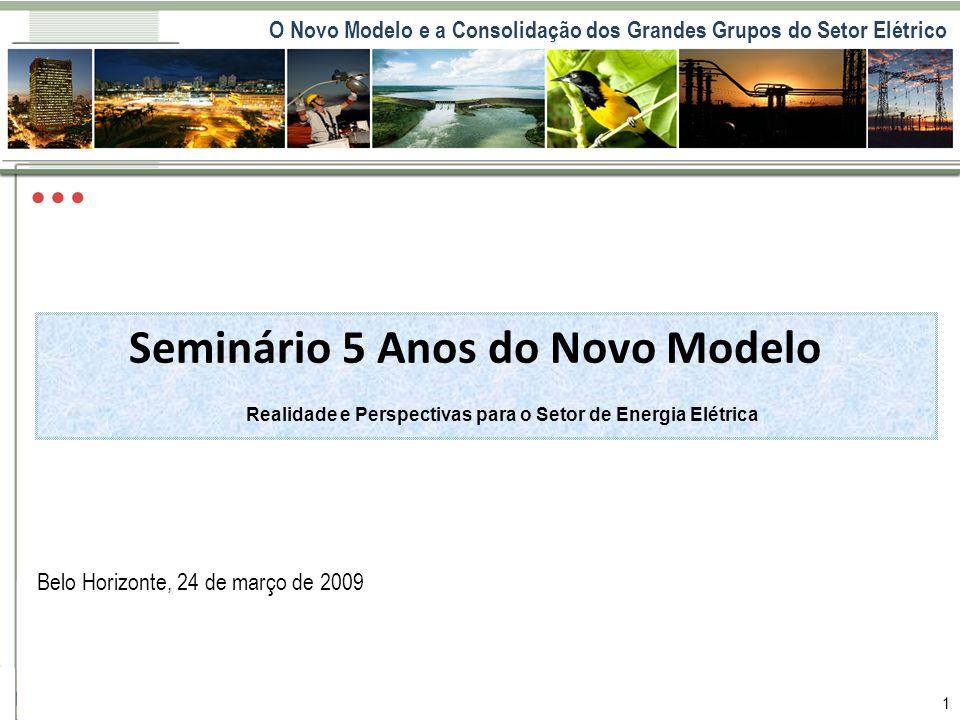 O Novo Modelo e a Consolidação dos Grandes Grupos do Setor Elétrico 1 Cenário Setorial Belo Horizonte, 24 de março de 2009 Seminário 5 Anos do Novo Mo