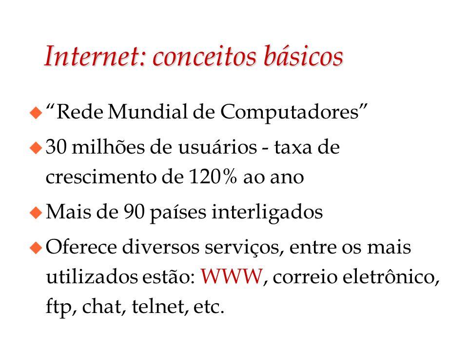 Internet: conceitos básicos u Rede Mundial de Computadores u 30 milhões de usuários - taxa de crescimento de 120% ao ano u Mais de 90 países interliga