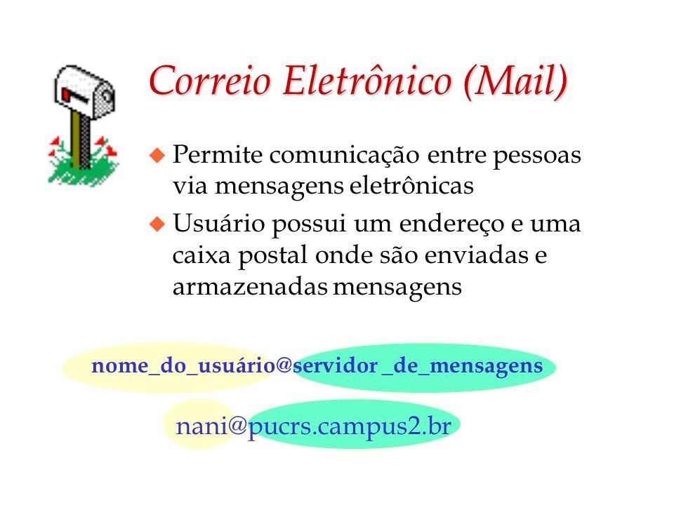 Correio Eletrônico (Mail) u Permite comunicação entre pessoas via mensagens eletrônicas u Usuário possui um endereço e uma caixa postal onde são envia