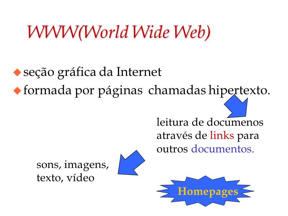 WWW(World Wide Web) leitura de documenos através de links para outros documentos. sons, imagens, texto, vídeo Homepages u seção gráfica da Internet u