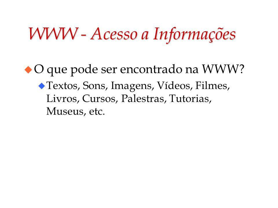 WWW - Acesso a Informações u O que pode ser encontrado na WWW? u Textos, Sons, Imagens, Vídeos, Filmes, Livros, Cursos, Palestras, Tutorias, Museus, e
