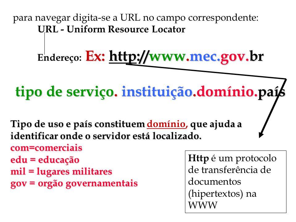 para navegar digita-se a URL no campo correspondente: URL - Uniform Resource Locator Ex: http://www.mec.gov.br Endereço: Ex: http://www.mec.gov.br tip