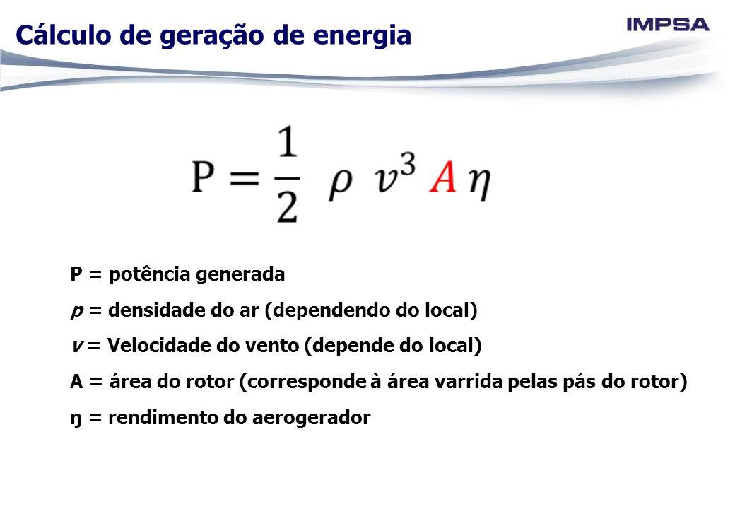 P = potência generada p = densidade do ar (dependendo do local) v = Velocidade do vento (depende do local) A = área do rotor (corresponde à área varri