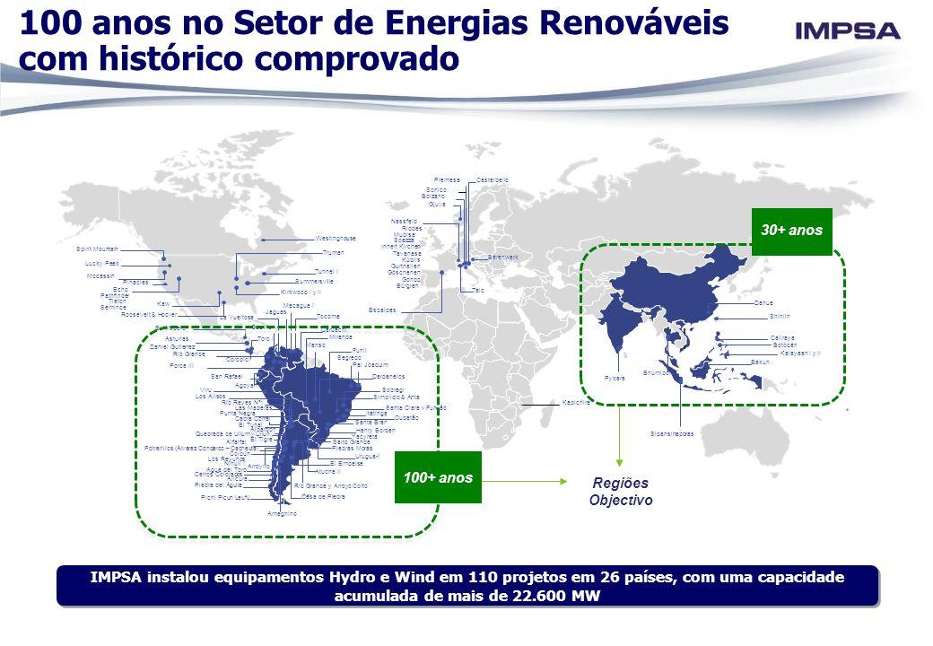 IMPSA instalou equipamentos Hydro e Wind em 110 projetos em 26 países, com uma capacidade acumulada de mais de 22.600 MW 100 anos no Setor de Energias