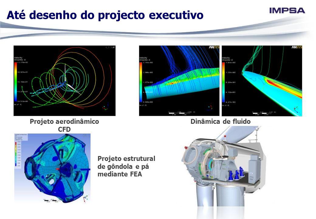 Até desenho do projecto executivo Projeto estrutural de gôndola e pá mediante FEA Projeto aerodinâmico CFD Dinâmica de fluido computacional