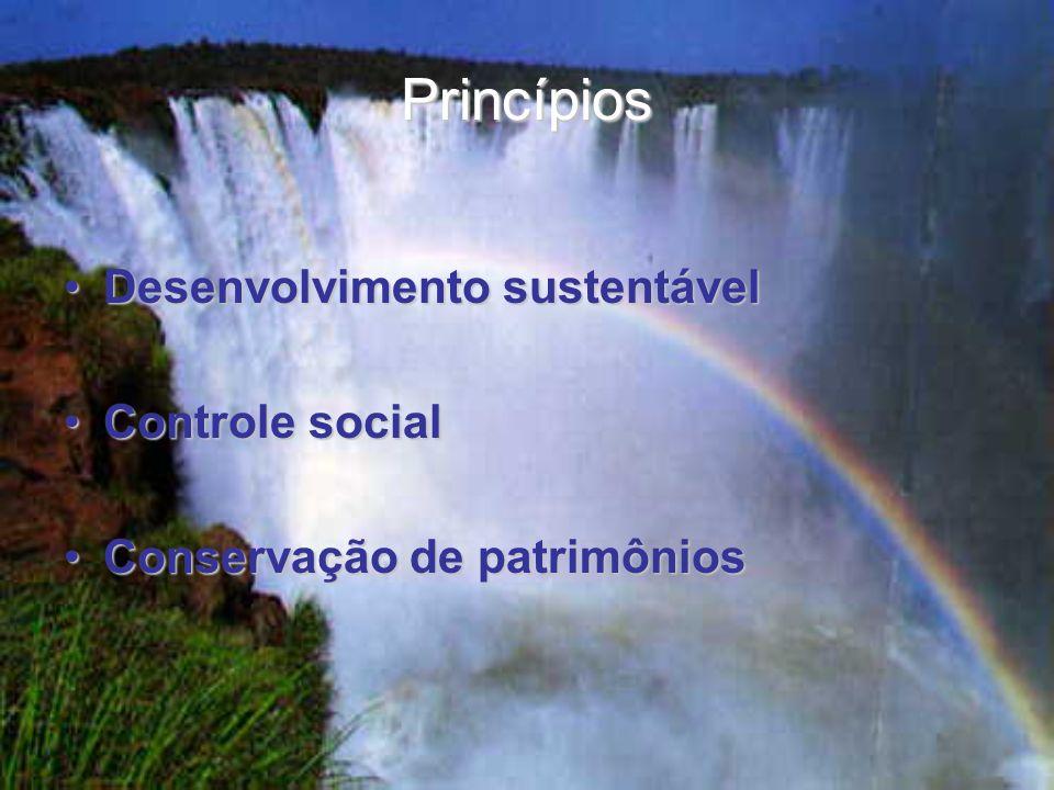 Princípios Desenvolvimento sustentávelDesenvolvimento sustentável Controle socialControle social Conservação de patrimôniosConservação de patrimônios