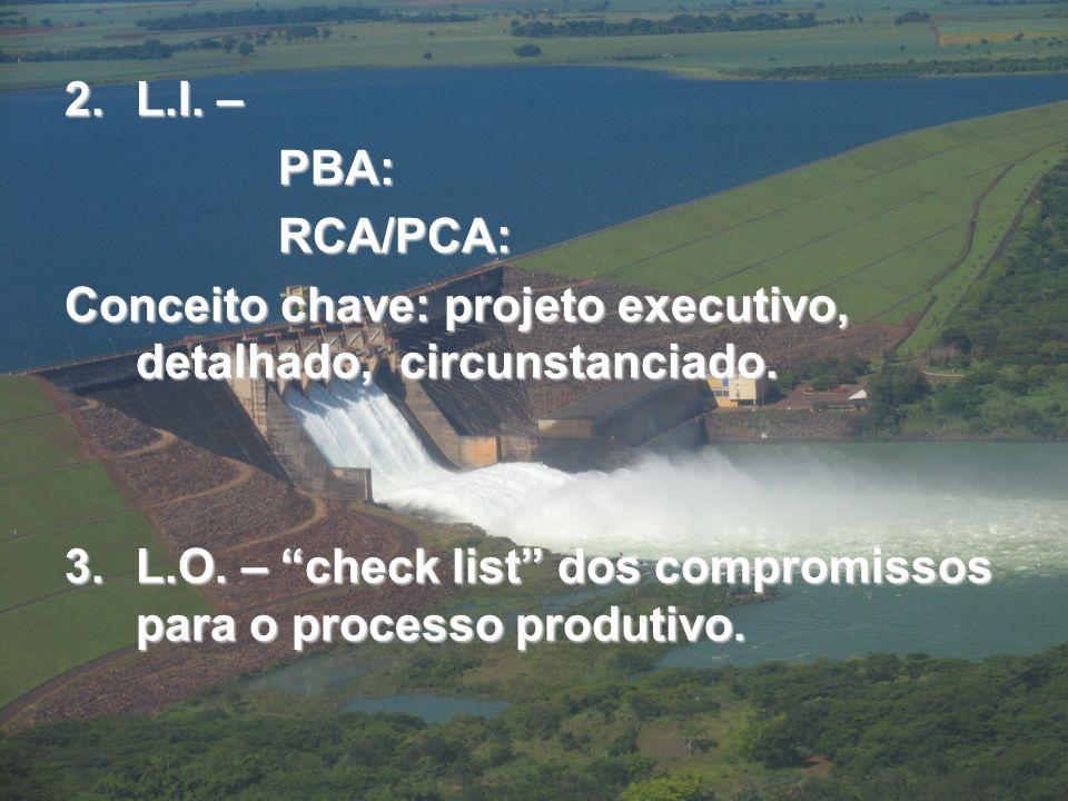 2.L.I.– PBA:RCA/PCA: Conceito chave: projeto executivo, detalhado, circunstanciado.