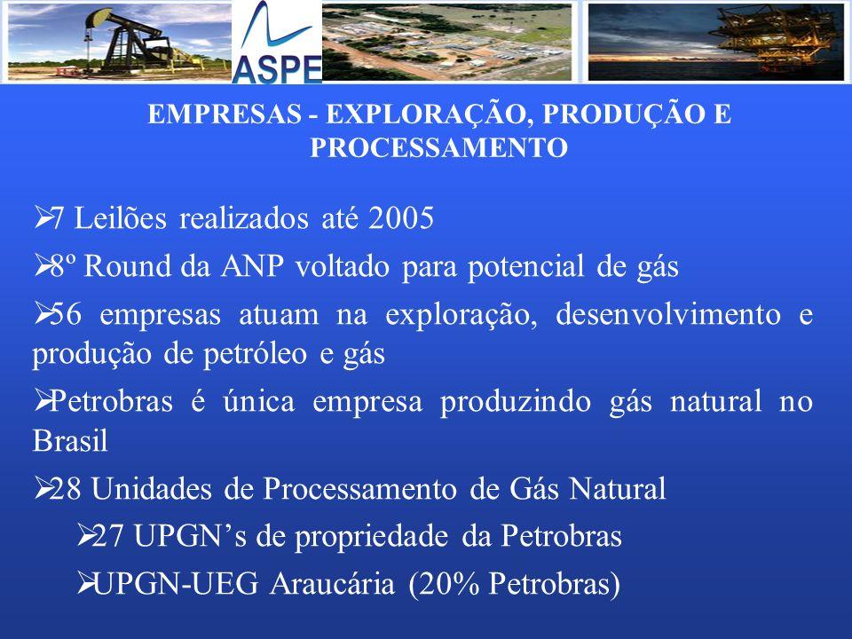 EMPRESAS - EXPLORAÇÃO, PRODUÇÃO E PROCESSAMENTO 7 Leilões realizados até 2005 8º Round da ANP voltado para potencial de gás 56 empresas atuam na explo