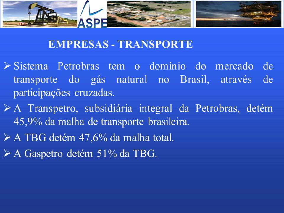 EMPRESAS - TRANSPORTE Sistema Petrobras tem o domínio do mercado de transporte do gás natural no Brasil, através de participações cruzadas. A Transpet
