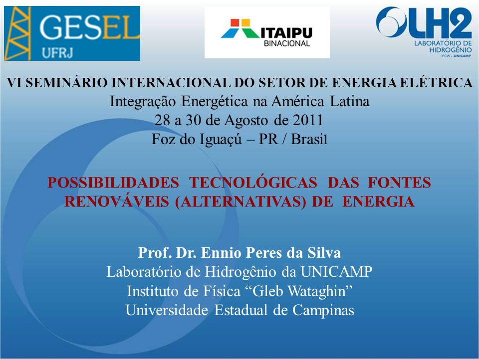 POSSIBILIDADES TECNOLÓGICAS DAS FONTES RENOVÁVEIS (ALTERNATIVAS) DE ENERGIA Prof.