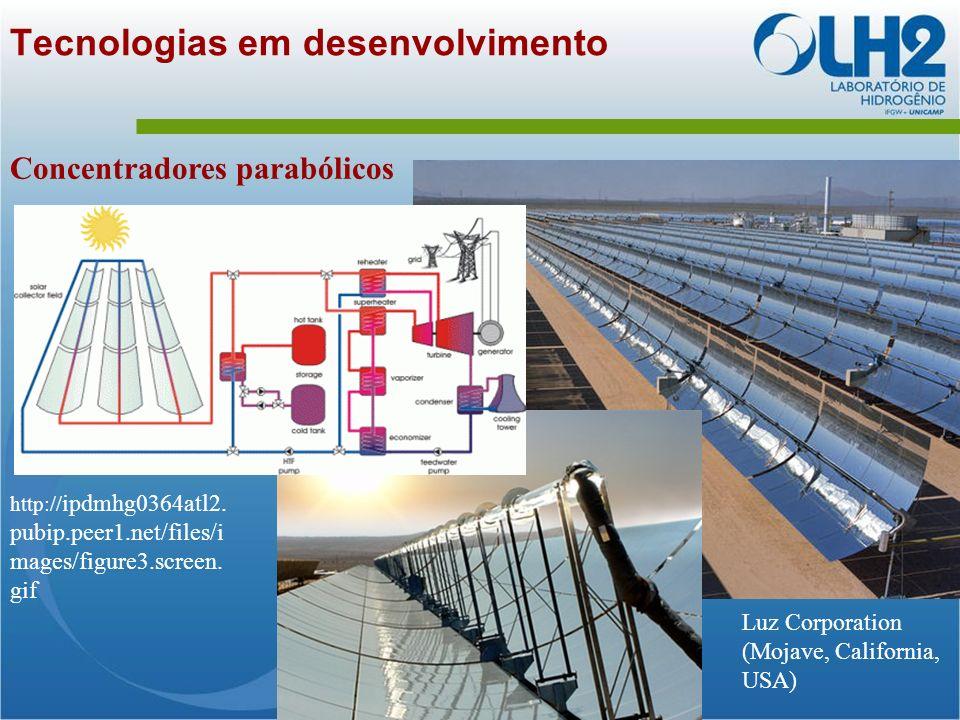 Tecnologias em desenvolvimento Concentradores parabólicos Luz Corporation (Mojave, California, USA) http:// ipdmhg0364atl2.