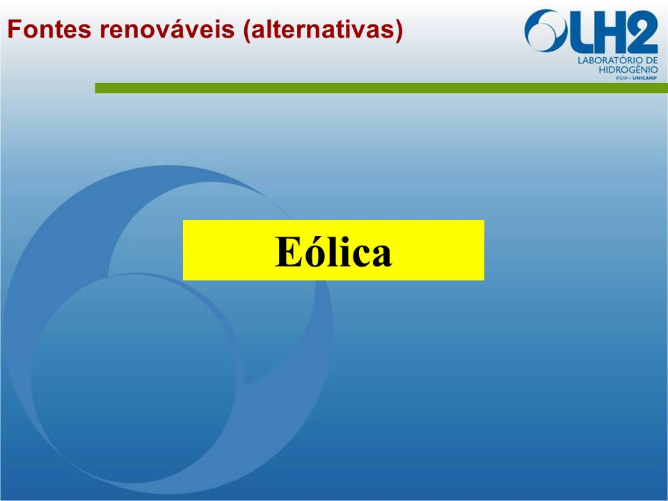 Fontes renováveis (alternativas) Eólica