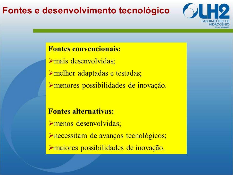 Fontes e desenvolvimento tecnológico Fontes convencionais: mais desenvolvidas; melhor adaptadas e testadas; menores possibilidades de inovação.