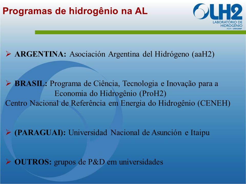 Programas de hidrogênio na AL ARGENTINA: Asociación Argentina del Hidrógeno (aaH2) BRASIL: Programa de Ciência, Tecnologia e Inovação para a Economia do Hidrogênio (ProH2) Centro Nacional de Referência em Energia do Hidrogênio (CENEH) (PARAGUAI): Universidad Nacional de Asunción e Itaipu OUTROS: grupos de P&D em universidades