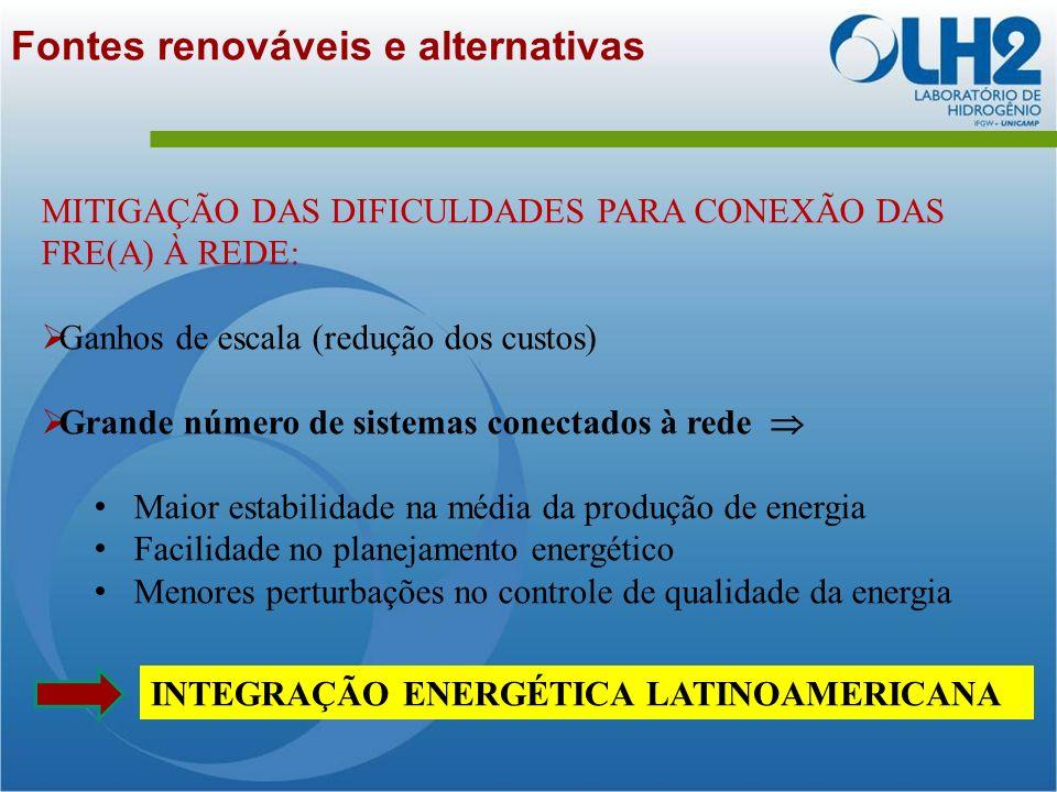Fontes renováveis e alternativas MITIGAÇÃO DAS DIFICULDADES PARA CONEXÃO DAS FRE(A) À REDE: Ganhos de escala (redução dos custos) Grande número de sistemas conectados à rede Maior estabilidade na média da produção de energia Facilidade no planejamento energético Menores perturbações no controle de qualidade da energia INTEGRAÇÃO ENERGÉTICA LATINOAMERICANA