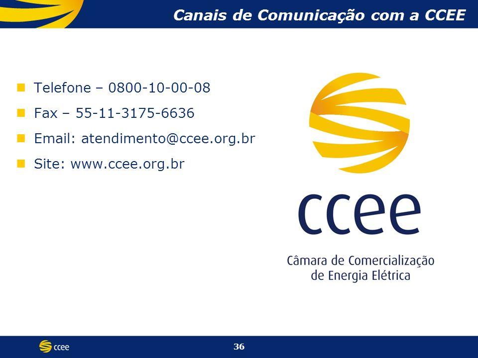 Telefone – 0800-10-00-08 Fax – 55-11-3175-6636 Email: atendimento@ccee.org.br Site: www.ccee.org.br Canais de Comunicação com a CCEE 36