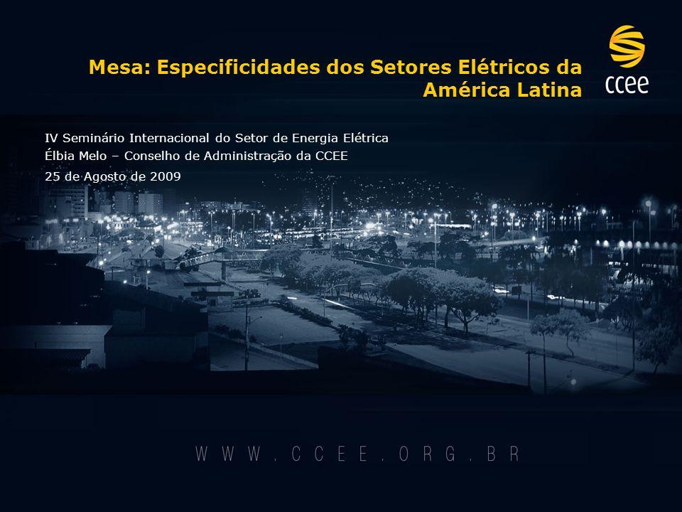 Mesa: Especificidades dos Setores Elétricos da América Latina IV Seminário Internacional do Setor de Energia Elétrica Élbia Melo – Conselho de Administração da CCEE 25 de Agosto de 2009