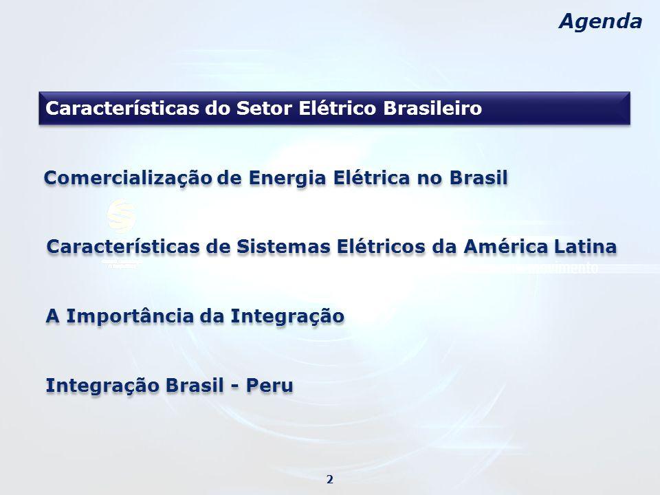 Agenda Características do Setor Elétrico Brasileiro A Importância da Integração 2 Características de Sistemas Elétricos da América Latina Comercialização de Energia Elétrica no Brasil Integração Brasil - Peru