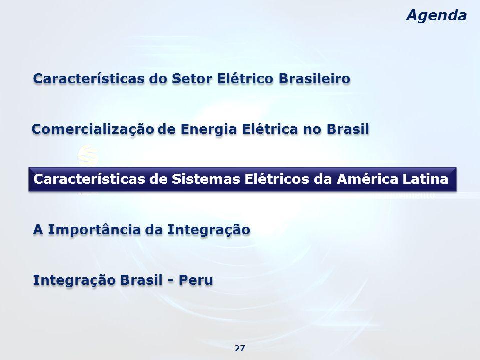 Agenda Características do Setor Elétrico Brasileiro A Importância da Integração 27 Características de Sistemas Elétricos da América Latina Comercialização de Energia Elétrica no Brasil Integração Brasil - Peru