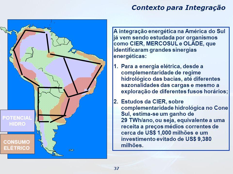 A integração energética na América do Sul já vem sendo estudada por organismos como CIER, MERCOSUL e OLADE, que identificaram grandes sinergias energéticas: 1.Para a energia elétrica, desde a complementaridade de regime hidrológico das bacias, até diferentes sazonalidades das cargas e mesmo a exploração de diferentes fusos horários; 2.Estudos da CIER, sobre complementaridade hidrológica no Cone Sul, estima-se um ganho de 29 TWh/ano, ou seja, equivalente a uma receita a preços médios correntes de cerca de US$ 1,000 milhões e um investimento evitado de US$ 9,380 milhões.