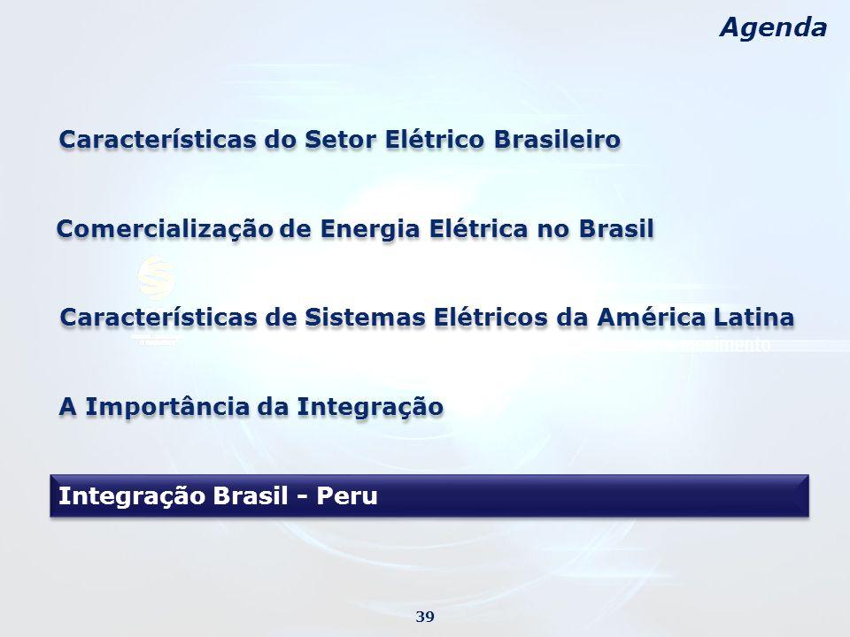 Agenda Características do Setor Elétrico Brasileiro A Importância da Integração 39 Características de Sistemas Elétricos da América Latina Comercialização de Energia Elétrica no Brasil Integração Brasil - Peru