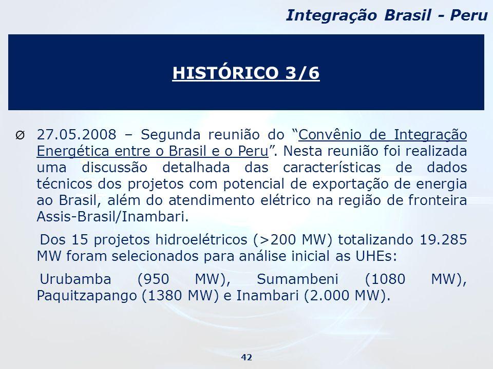 Ø 27.05.2008 – Segunda reunião do Convênio de Integração Energética entre o Brasil e o Peru.