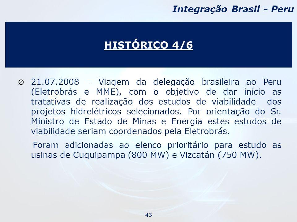 Ø 21.07.2008 – Viagem da delegação brasileira ao Peru (Eletrobrás e MME), com o objetivo de dar início as tratativas de realização dos estudos de viabilidade dos projetos hidrelétricos selecionados.