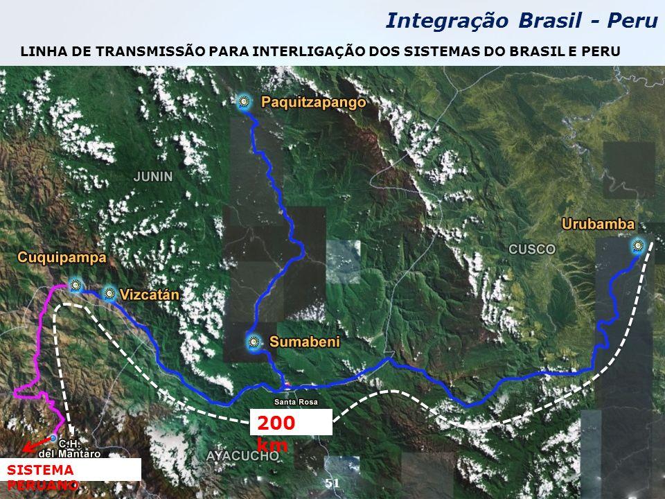 SISTEMA PERUANO 200 km LINHA DE TRANSMISSÃO PARA INTERLIGAÇÃO DOS SISTEMAS DO BRASIL E PERU Integração Brasil - Peru 51